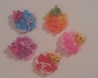20-22mm Beautiful Roses Flowers Bumblebee Embellishment Flatback - Mixed colors - resin - 5 pieces
