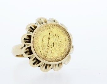 14K Gold Mexican Peso Ring