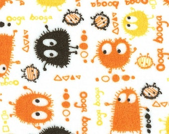 Halloween Orange n Black Ooga Booga Velour Stretch Knit Fabric, Piece 15 x 58/60 inches