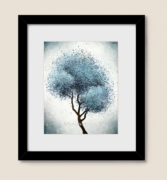 Page 134 Contemporary Living Room Decor: Abstract Tree Print Living Room Art Blue Wall Decor