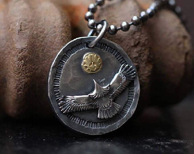 Silver Eagle Pendant | Oxidized Silver Pendant | Flying Bird Pendant | 18K Gold Eagle Charm | Hammered Pendant | Two Tone Pendant Disk Mens