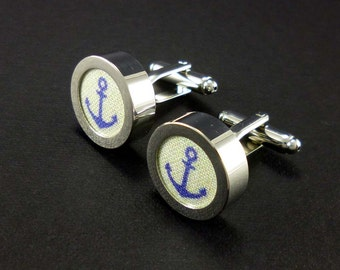 Cotton anchor cufflinks – light sand beige and navy nautical print - second anniversary gift for him – ocean sea theme sailor cuff links