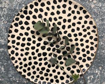 Large Platter Serving Plate Black polka dots gold rim