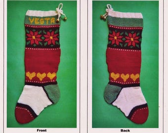 """PDF Pattern Only - """"Poinsettias and Hearts of Gold"""" Christmas Stocking Pattern"""