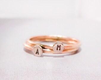 Initial Dot Ring // Solid 14K Gold // Initial Monogram Ring
