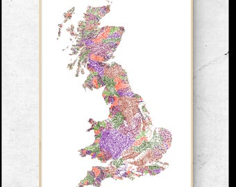 The Rivers of Great Britain  - Dark Pastels on White