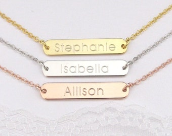 Personalized Name Necklace with Engraved Gold Plated, Silver Plated or Rose Gold Plated Name Plate