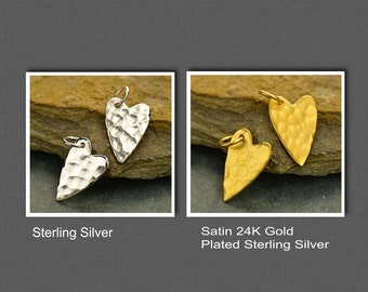 Sterling Silver OR Satin 24K Gold Plated Sterling Silver Small Hammered Heart Charm