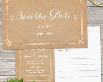 Rustic Kraft Look Save the Date Postcard or Flat Card Announcement; Printable, Evite or Printed (US Only) Cards