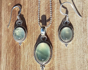 Jewelry set 925 solid sterling silver necklace with Murano earrings