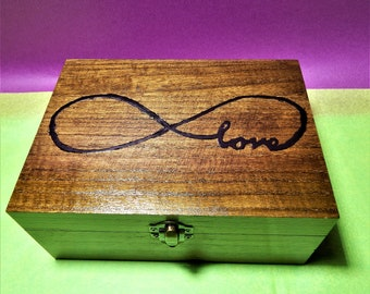 Infinity box,Infinity  love box , angel box,reiki box,crystal box,meditation box,wooden infinity box,decoupage,handpaint box