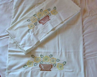 2 SUNFLOWER PILLOWCASES Glorious Yellow Blooms Brown Wicker Basket Cross Stitch, Cannon 50/50 Bed Linen, Vintage 1950s Hand Embroidered