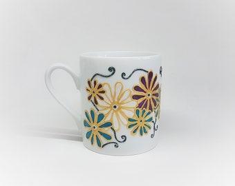 Customizable porcelain mug unique flowers, hand painted