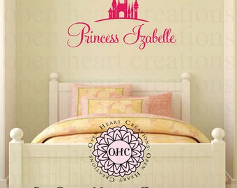Princess Vinyl Wall Decal - Personalized Name with Castle Wall Decal - Tiara Girl Baby Nursery Decor 22H X 36W Fn0244