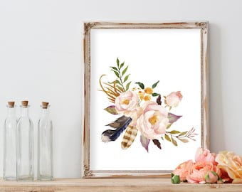 Feather Print, Printable Art Wall Art Prints Wall Art Watercolor flowers Watercolor painting Watercolor Print Boho Nursery Printable Art