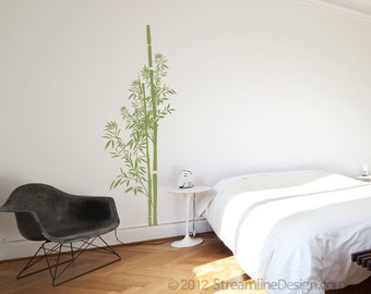 Bamboo Vinyl Removable Vinyl Wall Art, nature trees plants bamboo wall decal japanese theme bamboo wall sticker bamboo leaves