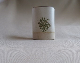 Stoneware Wall Pocket With Thyme Picture- Herb Planter- Wall, Counter or Window Sill
