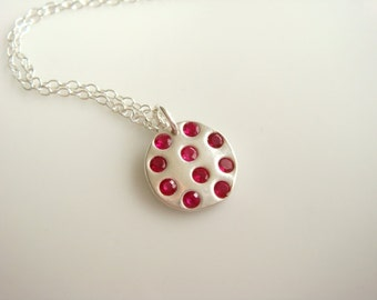 Ruby Birthstone Necklace / Tiny Ruby Necklace / PMC Ruby and Silver Necklace /Dainty Necklace / July Birthstone Necklace