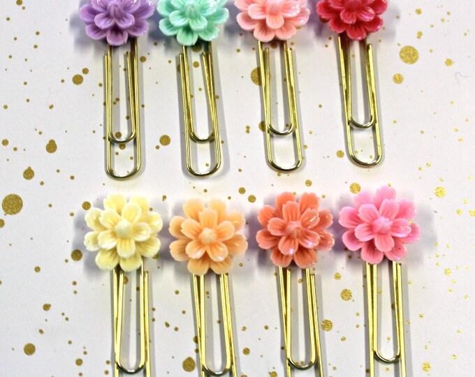 Planner Clips - Planner Clip set - Pastel Flower planner clip - Flower Cabochon Clip - Spring Planner Clips - Summer Planner Clips