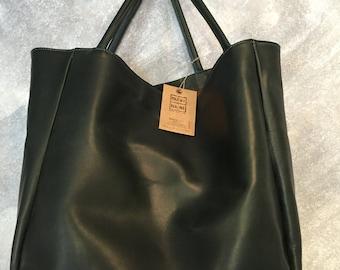 Large shoulder tote bag cowhide