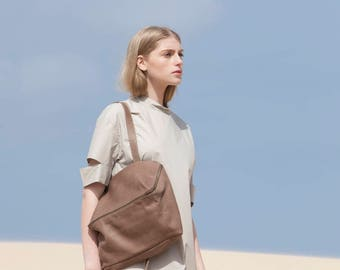Leather Tote Bag with Zipper, Leather Bag, Leather Handbag In Taupe, Over The Shoulder Leather Bag - Taupe Lolu
