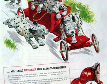 Dalmatian Dog Ad for Texaco 1955, Original Magazine Page Ad, Texaco Dealers,  Fire Chief wall Art, Dalmation Puppies on A Cart, Artist Drawn