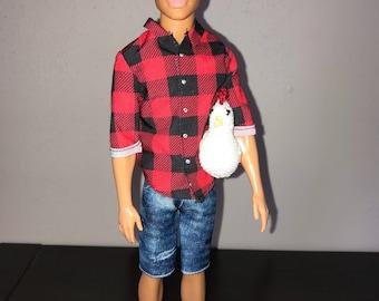 Farmer Ken Doll with Crocheted Chicken
