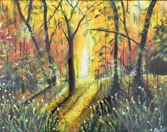 Morning Forest / Original Handmade Canvas Painting / 16 X 20