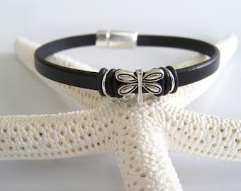 Leather Dragonfly Focal Bracelet - Item R2124