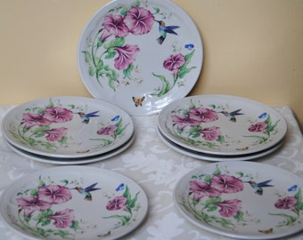 Set of Hummingbird and Butterfly Plates, Hummingbird Plates, Butterfly Plates, Dessert/Salad Plates