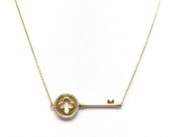 Key Necklace with Diamonds - 14 karat yellow gold