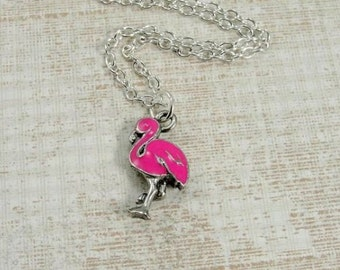 Pink Flamingo Necklace, Silver and Enameled Pink Flamingo Charm on a Silver Cable Chain