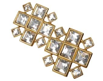 YVES SAINT LAURENT Vintage Ohrclips Gold Kristall Ohrringe Clip-On Earrings Crystal Rhinestones