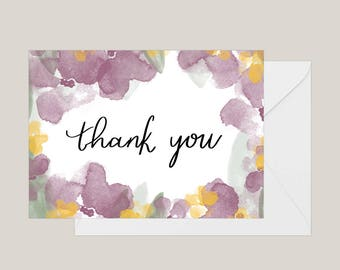 Printable Thank You Cards | Greeting Card | Wedding Thank You Cards | Floral Greeting Card | A2 Card