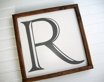 Capital Letter Sign .  Wall Letter . 12 1/2 x 12 1/2 .  Alphabet Sign . Family Sign . Wedding Gift . Gallery Wall . Letter R