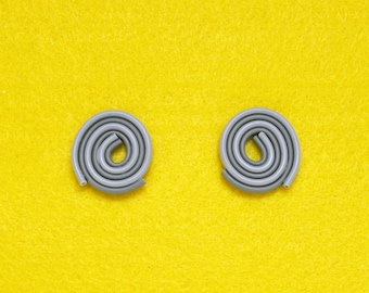 LANDLINES Upcycled Gray White Spiral Statement Earrings