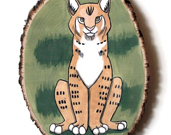 Lynx - Original Wall Art Acrylic Painting on Wood Cut with Tree Bark by Karen Watkins - Wildlife Cat Lynx Woodland Animal Painting