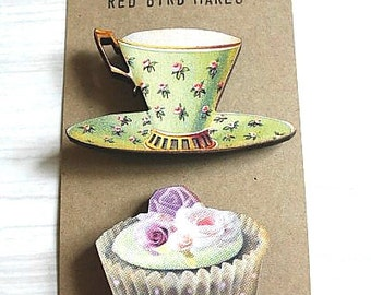 50 % OFF! Tea and Cake Pin/Brooch Set of 2