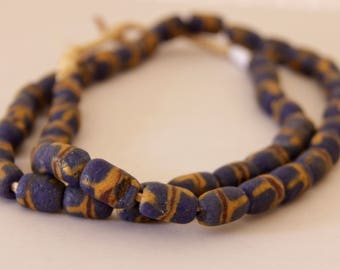 Vintage Dark Blue with Yellow and Red African Sandcast Tube Beads - OASC 105