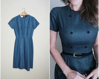 vintage 60s deadstock colonial blue short sleeve midcentury modern dress -- womens xsmall small-- 34-24-38