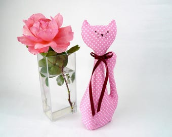 Fabric cat, pink cat, collectors cat