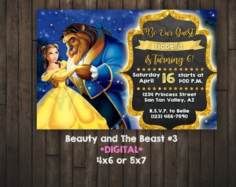 Beauty and the Beast Invitation, Princess Belle, Beauty and the Beast, DIGITAL
