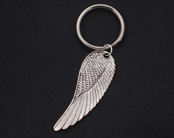 large wing keychain, sterling silver filled, silver wing charm keyring, guardian angel, angel wing, bridesmaid gift, best friend gift, gift