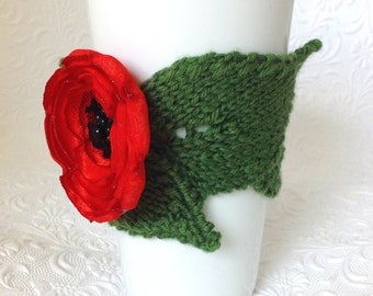 Leaf and Lovely Poppy Blossom Cup Cozy With 16-oz. Double-Wall Travel Mug Screw-on Flip-top Lid Reusable Durable Complimentary Gift Wrapped