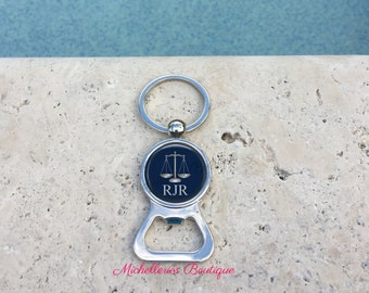 Scales of Justice Personalized Bottle Opener Keychain,Scales of Justice Gift,Monogram Lawyer Gift,Attorney Gift,Navy, Gifts under 15, MB307