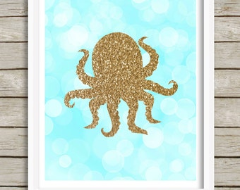 Octopus Wall Art, Octopus Printable, Instant Download 8x10, Baby Nursery Decor, Kids Room Decor, Teal and Gold, Nautical Beach Ocean Sea Art