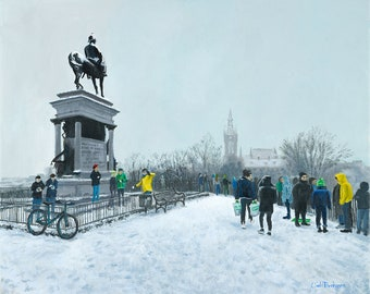 Snowy Kelvingrove at the Monument. A painting from Kelvingrove Park in Glasgow including Glasgow University in the background