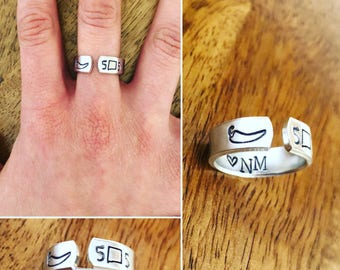 Hand Stamped New Mexico Ring, 505, chile pepper,  I Heart NM