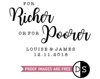For Richer Or For Poorer Stamp, wedding stamp, wedding favours stamp, personalised wedding stamp, For Richer or Poorer, (cts229)