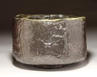 Wood Fired Tea Bowl, Chawan, Black Raku